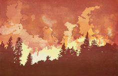 Enter: Thunder, Fire, Smoke and Relearning New Languages - Dark Mountain Dark Mountains, Gray Owl, Lightning Strikes, World Peace, Extreme Weather, Thunder, Printmaking, Block Prints, Languages