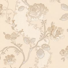 Brewster Wallpaper 294-2636 Augusto Cream Fabric Floral Trail