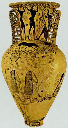 Amphora (detail of Gorgons, Odysseus blinding Polyphemos), mid 7th century BCE (Geometric and Orientalizing)