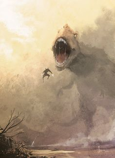 Wolverine Vs. T-Rex! This cool piece is by Andre Hou. Is Wolverine really going to take down this big guy?