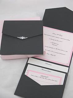 Pink and black pocket fold wedding stationery with diamante details. Boxed and…
