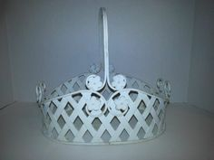 SHABBY COUNTRY COTTAGE CHIC FLOWER METAL BASKET, FRENCH COUNTRY - SH#4