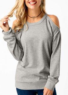 Grey Cold Shoulder Long Sleeve Sweatshirt   Rosewe.com - USD $29.92