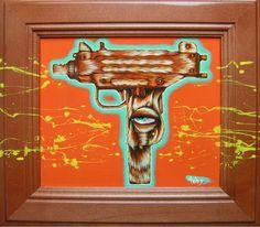 toby stanger.com furry uzi   200   Sold 12 x 12   acrylic on cabnet door, 2011