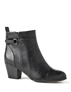 City Sleek Bootie: Add our wide-width booties to your fall wardrobe for the perfect finishing touch. The sleek, velcro ankle strap and back elastic fabric give you an adjustable stretch fit. Side zip opening. Thick heel. Wide width sizes with stretchable calves. catherines.com #catherines #fallstyle #plussizefashion #widewidthboots #booties