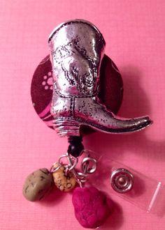 Cowboy boot  retractable badge reel on Etsy, $12.00