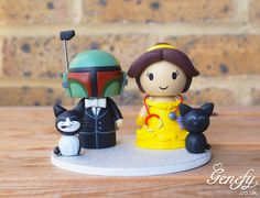Boba Fett and Princess Belle with stethoscope and cats wedding cake topper by Genefy Playground  https://www.facebook.com/genefyplayground