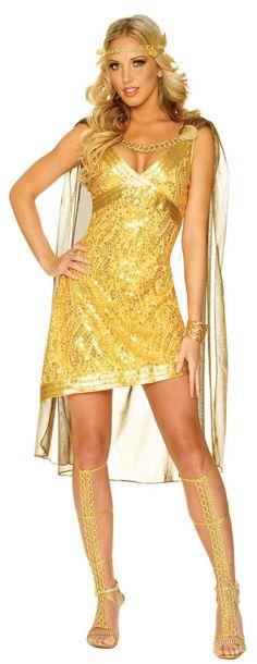 Sexy Golden Greek Goddess Costume - love the sheer cape!