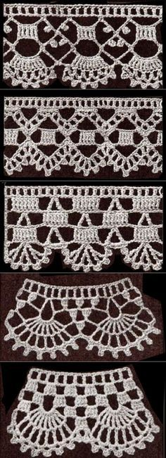 If you looking for a great border for either your crochet or knitting project, check this interesting pattern out. When you see the tutorial you will see that you will use both the knitting needle and crochet hook to work on the the wavy border. Crochet Edging Patterns, Crochet Lace Edging, Crochet Hook Set, Crochet Borders, Crochet Trim, Love Crochet, Diy Crochet, Crochet Designs, Crochet Crafts