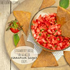 Strawberry Basil Salsa with Homemade Cinnamon Sugar Chips!! Best Appetizer Ever! Delicious, easy, and so flavorful. YUM!
