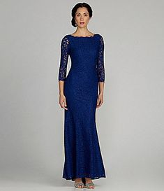 Adrianna Papell LongSleeve Lace Gown #Dillards This would be a gorgeous wedding dress if it was white.