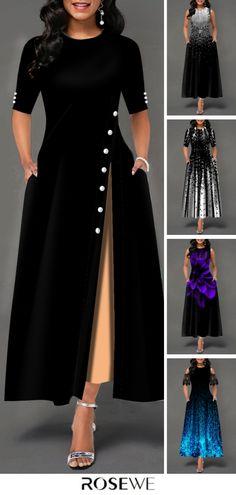 Fashion Cute Women Black Dress – – My World African Fashion Dresses, Indian Dresses, Women's Dresses, Fashion Outfits, Dress Fashion, Fashion Women, Fashion Fashion, Indian Fashion, Indian Designer Outfits