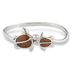 Sterling Silver Honu (Turtle) Hinged Bangle with Fine Koa Wood* Inlay - Bracelets - New from Na Hoku, Hawaii's Finest Jewelers Since 1924