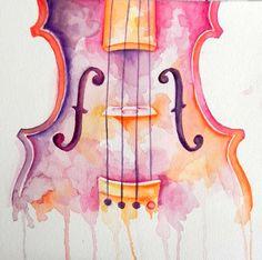 Watercolor Violin by GenerallySpeaking.deviantart.com on @deviantART