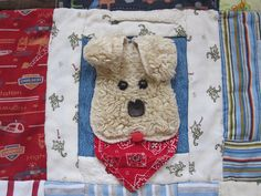 Dog block for a baby quilt. #quilt