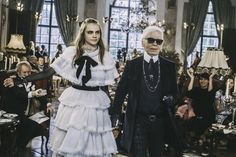 A look backstage at the Chanel pre-fall 2015 show.