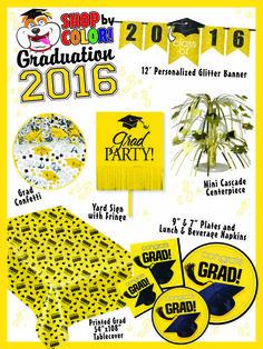 Yellow 2016 Graduation Party inspiration   Wally's Party Factory #yellow #graduation