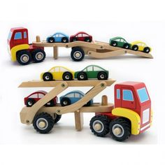 Car Carrier Kaper Kidz Wooden Semi Trailer Truck / Car Carrier with 4 Wooden Cars. Lots of fun to be had with this traditional wooden vehicle. Easy load ramp lowers to let cars drive on and off. Trailer can also be removed so the truck can be driven on it's own. 4 wooden cars Rubber wheels Measures: 24.5cm L (tray up) 40cm L (tray down) x 11cm H x 9cm W Non toxic, child friendly materials and paint Recommended age 18 months +
