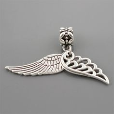 1Pcs Silver Bead Charm European Silver with Angel wings Charm Pendant Bead  Fit Pandora Bracelet 717a06128d3