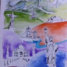 We're all in this together.  #wondersoftheworld #watercolor #painting #travel #illustration #tajmahal #statueofliberty #londonbridge #sydneyoperahouse #christoredentor #greatwallofchina  #greatpyramidofgiza #eiffeltower Gray Instagram, Great Pyramid Of Giza, Great Wall Of China, Travel Illustration, London Bridge, Travel Aesthetic, Travel Essentials, Watercolor Painting, Wonders Of The World