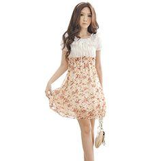 KingMas Women's Summer Flower Prints Chiffon Short Sleeve Chiffon Mini Dress (Pink) KingMas http://www.amazon.com/dp/B00L4WWQ96/ref=cm_sw_r_pi_dp_vBc1ub10187KT
