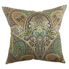 Cotton pillow with an ornate Eastern-inspired motif.          Product: Set of 2 pillows    Construction Material: 10...