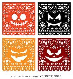 Paper Decorations, Halloween Decorations, Fall Halloween, Happy Halloween, Manualidades Halloween, Scary Faces, Design Maker, Geometric Decor, Banner Images