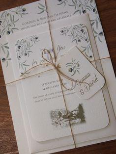 Mediterranean Wedding Invitation & Reply Card Bundle. Mediterranean / Olive themed wedding stationery / Italian Wedding