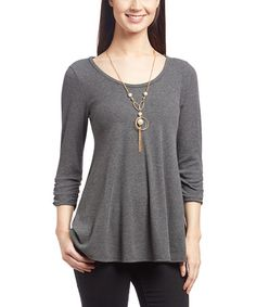 Loving this Charcoal Trapeze Top on #zulily! #zulilyfinds