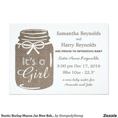 Rustic Burlap Mason Jar New Baby Girl Announcement