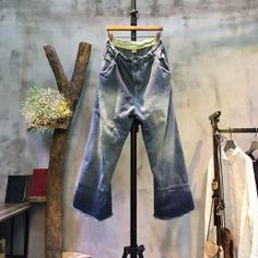 Color Faded Raw Edges Baggy Denim Pants Woamns Fashion Trousers Trouser  Pants, Harem Pants, 8781f58fe8