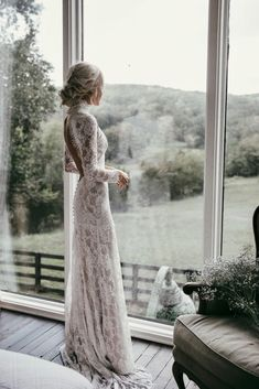 Country Mermaid Wedding Dresses High Neck Lace Backless Long Sleeve Sweep Train Bridal Gowns Plus Size Robe De Mariée from Babybridal is part of Ruffle wedding dress If you want custom made color a - Boho Wedding Dress With Sleeves, Long Wedding Dresses, Dresses With Sleeves, Dress Wedding, Dress Lace, Long Dresses, Tulle Wedding, Dresses Dresses, Bohemian Wedding Gowns