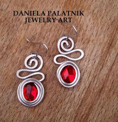 Red Earrings, Dangle Earrings, Red Stones Earrings, Lightweight Earrings, Spiral Earrings, Hypoallergenic Earrings, Bohemian Earrings.
