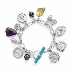 SLANE Multiple Charm and Gemstone Bracelet in Sterling Silver