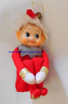 Vintage Knee Hugger Elf Pixie Christmas Ornament Felt