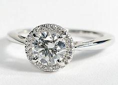 Halo Diamond Engagement Ring in 18k White Gold #BlueNile