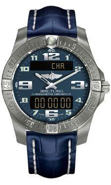 Breitling Watches - Aerospace Evo Croco Strap - Deployant Buckle - Style No: E7936310/C869-croco-blue-deployant