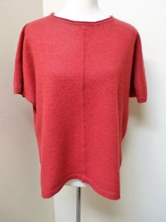 NWOT CALYPSO ST. BARTH  Sz 0-S RED WITH METALLIC 85%CASHMERE LAGENLOOK SWEATER #CalypsoStBarth #Crewneck