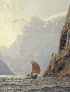 """Hans Dahl (1849-1937) - """"Sailing in a Fjord"""""""