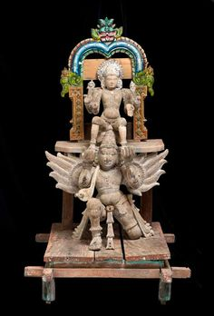 Processional Hindu Icon of Lord Vishnu Riding Garuda. India, Tamil Nadu, C. Wood with traces of gesso, polychrome enamels and glass Indian Gods, Indian Art, Ram Sita Image, Sculptures, Lion Sculpture, Digital Art Fantasy, Lord Murugan, Wooden Statues, Tanjore Painting