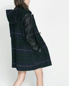 Leather sleeves hooded Coat from Zara