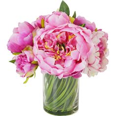 A lush addition to your coffee table or foyer console, this bold arrangement showcases faux pink peonies nestled in a simple glass vase. Fake Flowers, Artificial Flowers, Silk Flowers, Fabric Flowers, Beautiful Flowers, Pink Flower Bouquet, Peonies Bouquet, Peony Flower, Peony Arrangement