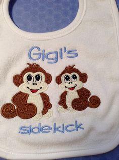 Gigi's Sidekick Bib Burp or Onsie by LadybugJaneGifts on Etsy, $15.00