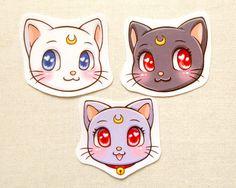 Sailor Moon Cats Luna Artemis Diana Glossy by BeagleCakesArt