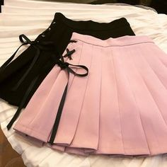 Korean Spring Fashion Academy's High Waist A Shaped Short Skirt With Pure Color Tie Bow Knot And Pleats - June 29 2019 at Teen Fashion Outfits, Edgy Outfits, Korean Outfits, Girl Outfits, Fashion Dresses, Fashion 2018, Kawaii Fashion, Cute Fashion, Spring Fashion