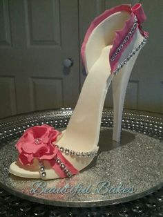 Gum paste white pink and Diamante shoe