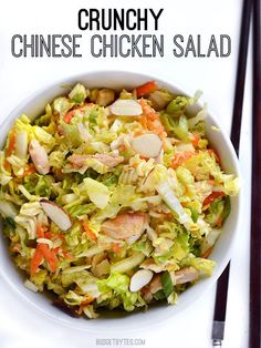 A super crunchy Chinese chicken salad with an easy homemade sesame ginger dressing. Light, crunchy, and perfect for summer. Step by step photos.