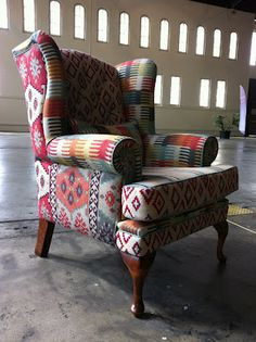 The Santa Fe chair, by RAPT!upholstery. Featuring fabrics from the Warwick Fabrics 'Anthropology Collection'