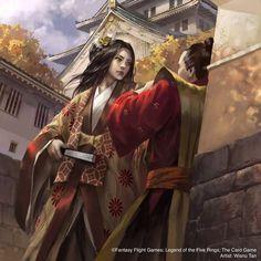 Character Inspiration, Character Art, Character Design, Buildings Artwork, Samurai Artwork, Lion Pride, Oriental, Linocut Prints, Fantasy Girl
