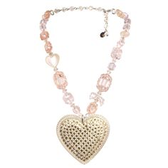 Tarina Tarantino Crystal Pave HEART CHARM NECKLACE- Dollskin This sweet spin on our top-selling Iconic Pavé Heart necklace features an extra large lucite heart embellished with Swarovski crystals and candy-colored lucite and crystal beads necklace